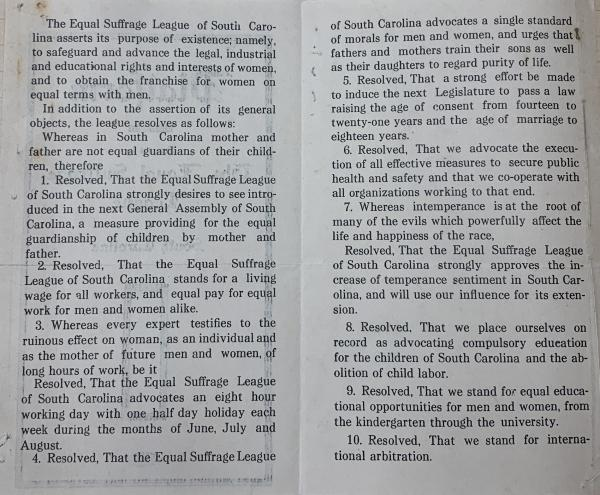 The Equal Suffrage League of South Carolina distributed their first platform pamphlet in 1914.