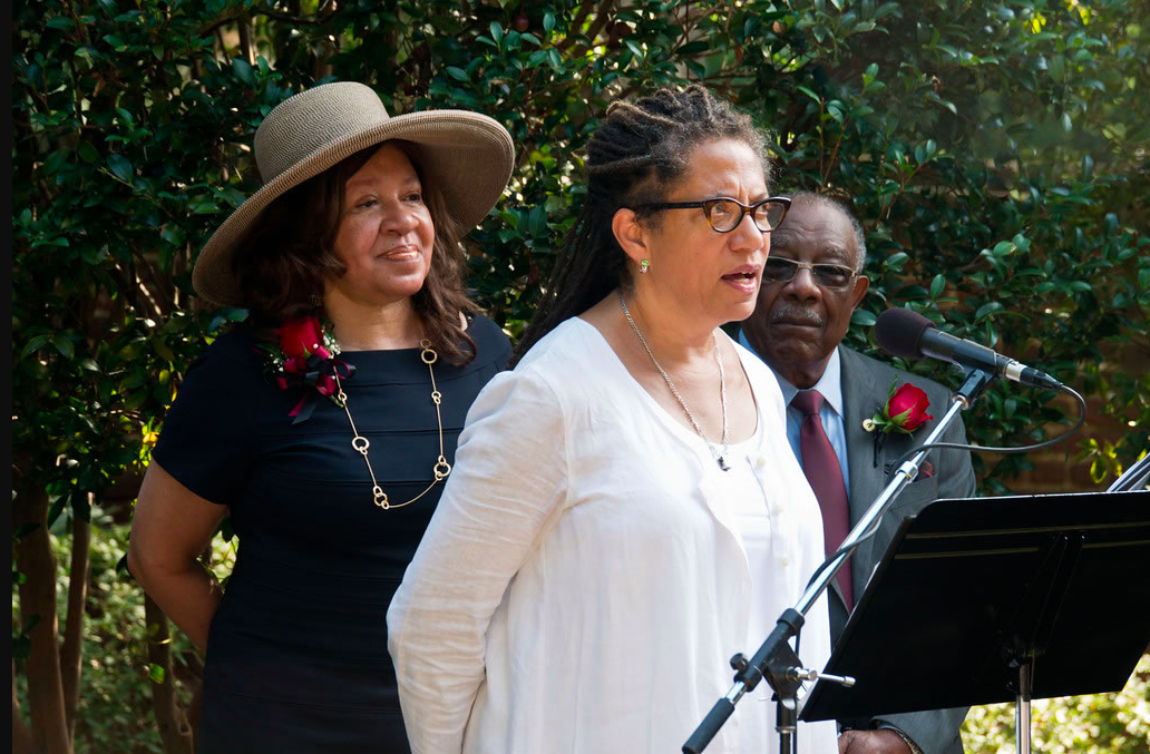 Nikki Finney speaks at the unveiling of the USC Desegregation Commemorative Garden