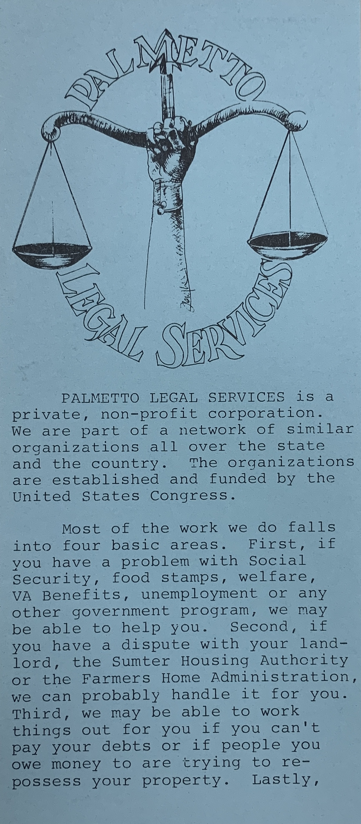 A brochure produced by Palmetto Legal Services, 1980s
